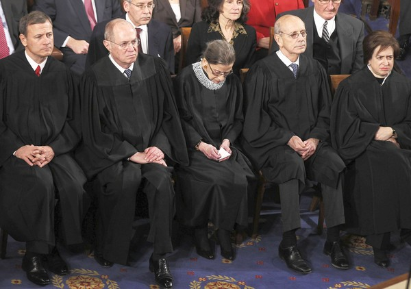 Supreme Court Justices Roberts, Kennedy, Ginsburg, Breyer and Kagan